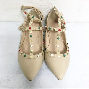 Nude Pointed Toe Strappy Studded Flats Size 8
